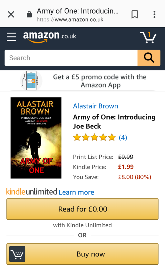 Army of One: Introducing Joe Beck Kindle Unlimited Read For 0.00