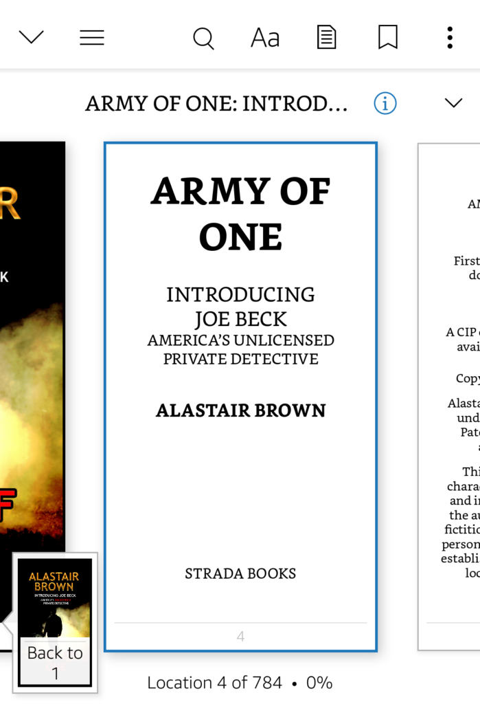 Read Army of One: Introducing Joe Beck Kindle Unlimited